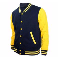 Review Jaket Sweater Baseball Polos Hitam Kuning Unisex