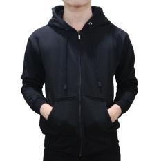 Diskon Jaket Sweater Polos Hoodie Zipper Black Unisex