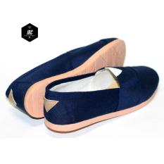 JRC collection-flatshoes slipon canvas jeans biru tua/dongker  sejenis toms/wakai