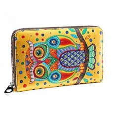JSLOVE Womens Leather Cute Owl Cetak Zipper Sekitar Koleksi Dompet-Intl