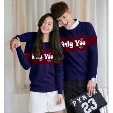 Jual Baju Couple - Kaos Kapel  Lengan Panjang - Pakaian Pasangan ( Kembaran / Coupel / Capel / Kapelan ) Lp Only You Navy