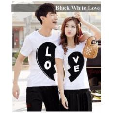 Jual Couple Baju - Baju Couple Murah - Kaos Couple Black White Love PUTIH