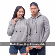 Jual Couple Hoodie - Couple Hoodie Polos - Couple Hoodie Abu Muda polos fleece