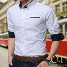 Jual [MR White Xl OT] Kemeja Pria Slim Fit Warna Putih Ukuran Xl