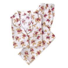 Jual Piyama Mewah Cream Teddy Bear Cotton Baju Tidur Wanita Cewek PK64 Murah