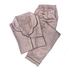 Jual Piyama Mewah Peanut Coklat Satin Organic Baju Tidur Wanita Cewek PSO5 Diskon