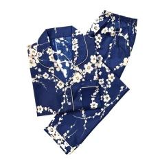 Jual Piyama Mewah Sakura Biru Jepang Cotton Baju Tidur Wanita Cewek PK7 Murah