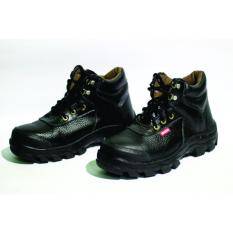 Jual Sepatu Safety Boots Pria 100% Kulit Asli Produk ORI TERBAIK Warna Hitam