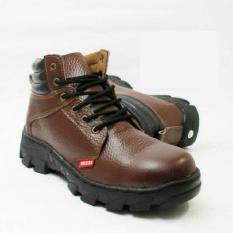 Jual Sepatu Safety Boots Pria 100% KULIT SAPI ASLI Warna Coklat