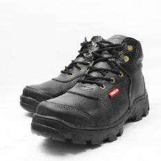 Jual Sepatu Safety Boots Pria 100% KULIT SAPI ASLI Warna Hitam