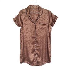 Jual Sleepshirt Daster Coffee Coklat Satin Baju Tidur Piyama Cewek SSR10 Murah