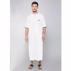 Al-Isra Jubah Arabi Pakaian Muslim Gamis Pria Lengan Pendek (Putih)