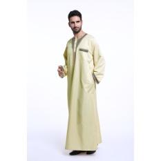 Jubahs Muslim Mens Dress Pakaian Arab Timur Tengah Mans Robesislamic Pakaian Ukuran Plus Kuning-Internasional