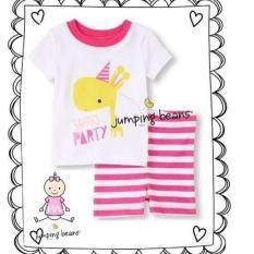 Jumping Bean- Setelan  Safari Party white stripe - Pink