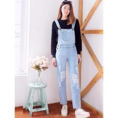 Jumpsuit Wanita Overall Jeans / Jumpsuit Jeans/ Baju Kodok / Jumpsuit Ripped Lutut V592 Light - Ancien Store