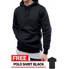Just Cloth Jaket Pullover Hoodie Polos Hitam + Free Polo Shirt - Hitam