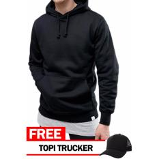 Jual Just Cloth Jaket Pullover Polos Free Topi Trucker Polos Hitam Just Cloth