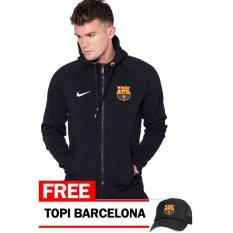 Just Cloth Jaket Zipper Barcelona + Free Topi Barcelona - Hitam