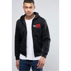 Beli Just Cloth Jaket Zipper Hoodie Social Media Youtube Hitam Just Cloth Dengan Harga Terjangkau