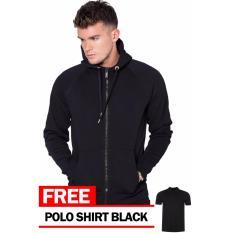 Just Cloth Jaket Zipper Polos Hitam + Free Polo Shirt Hitam