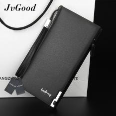Harga Jvgood Bisnis Pria Dompet Solid Pu Leather Long Bifold Dompet Portable Arus Coin Purses Zipper Dompet Pria Clutch Bag Jvgood Online