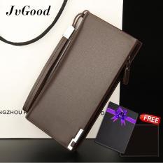 Jual Jvgood Business Men Wallets Solid Pu Leather Long Bifold Wallet Portable Cash Coin Purses Zipper Wallets Male Clutch Bag Intl Import