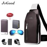 Spesifikasi Jvgood Men Pu Leather Chest Bags Casual Bags Men Waterproof Sling Messenger Shoulder Bags Hiking Cycling Bicycle Bag With 6 Gifts Long Wallet Belt Sunglass Earphone Case Bag Short Wallet Card Holder Bagus