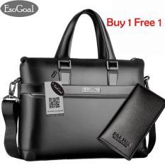JvGood Tas Kerja Pria Kulit Tas Tangan Lilin Santai Bahu Bag Men's Leather Briefcase Laptop Handbag Messenger Business Bags with Dompet Pria Panjang
