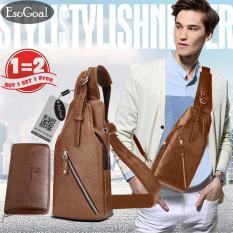 Toko Jvgood Men S Sling Bag Genuine Leather Chest Shoulder Backpack With Long Wallet For Travel Hiking Sch**l Lengkap