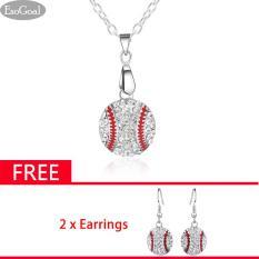 Ulasan Lengkap Jvgood Kalung Anting Perhiasan Liontin Kalung Necklace Crystal Earrings Baseball Pendant Dangle Earrings