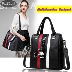 Daftar Harga Jvgood Women S Pu Leather Backpack Purse Mulifunction Stripe Casual Shoulder Bag Daypack For Ladies Jvgood