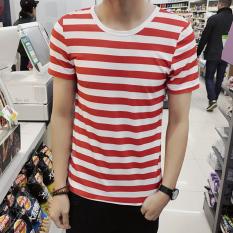 Jual Jvi Kaos Pria Lengan Pendek Bahan Polyester Kerah Bulat Motif Garis Gaya Jepang Dt09 Garis Merah Original