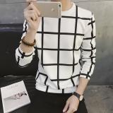 Beli Jaket Pullover Kaos Oblong Pria Versi Korea Kotak Putih Online