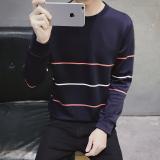 Promo Jaket Pullover Kaos Oblong Pria Versi Korea Sweater 30 Garis Merah Biru Laut Oem Terbaru