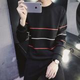 Spesifikasi Jaket Pullover Kaos Oblong Pria Versi Korea Sweater 30 Garis Merah Hitam Baru