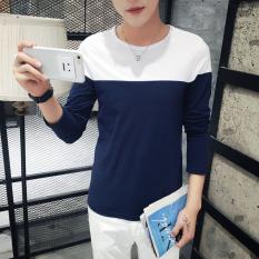 Jvr Kaos Pria Lengan Panjang Bahan Polyester Kerah V Gaya Urban (V-neck lengan