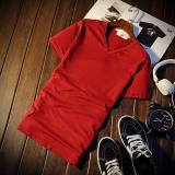 Beli Jvr Kaos Pria Lengan Pendek Bahan Polyester Kerah Bulat Gaya Korea Warna Hitam Putih V Neck Anggur Merah Yang Bagus