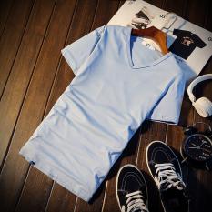 Beli Jvr Kaos Pria Lengan Pendek Bahan Polyester Kerah Bulat Gaya Korea Warna Hitam Putih V Neck Langit Biru Baju Atasan Kaos Pria Kemeja Pria Murah