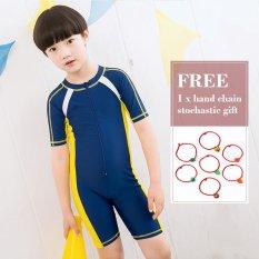 Spesifikasi Jxgo 2017 Baru Anak Swimsuit Piece Lengan Pendek Swimsuit Anak Laki Laki Dan Perempuan Renang Kuning Internasional