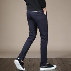 JY Bisnis Kasual Pria Baru Celana Bebas Pemuda Profesional Slim Elastis Anti With Kerut-kerut Celana Biru-Intl