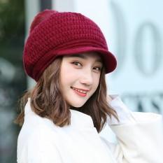 JZ Perempuan Korea Tide Pearl Rambut Rajutan Musim Dingin Rex Rabbit Fur Hat Beret Merah MAC XS 655-Intl