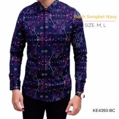 Jual K Exclusive Kemeja Batik Songket Lengan Panjang Navy K Exclusive Branded