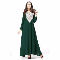 Kaftan Jilbab Islam Abaya Muslim Dress (Hijau)
