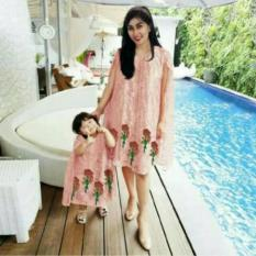 Jual Cepat Kaftan Nagita Dress Peach Couple Mom N Kid