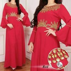 Kaftan Tahari Merah Fashion Wanita Gamis Dres Baju Pesta Perempuan
