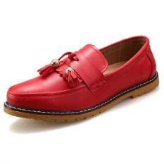 KAILIJIE Pria Jumbai Pantofel Bisnis Formal Kulit Sepatu (Merah)