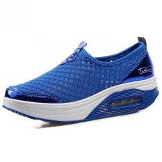 KAILIJIE Wanita Mesh Slip-On Platform Fitness Walking Sepatu Kets (Biru)