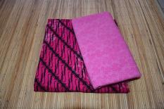 Kain Batik Cotton Print Warna Pink Dan Kain Embos (Sepaket)
