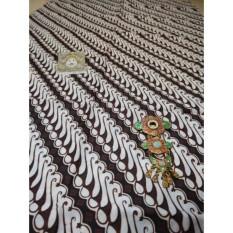 Kain Batik Parang Krikil Kembang Gedang Kecil Putih Bahan Katun Sogan Primisima Halus Baik Untuk Kebaya Jarik Seserahan Khas Jogja Manten Jarit Pernikahan Jawa Grosir Halus Seragam Batik Bahan Kemeja Rok Lilit Setelan Hitam Coklat Tua Panjang 2 Meter