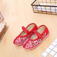 Kain Beijing Tua Gadis Kostum Buatan Tangan Sepatu Kain Bekas Bordir Sepatu (Merah)